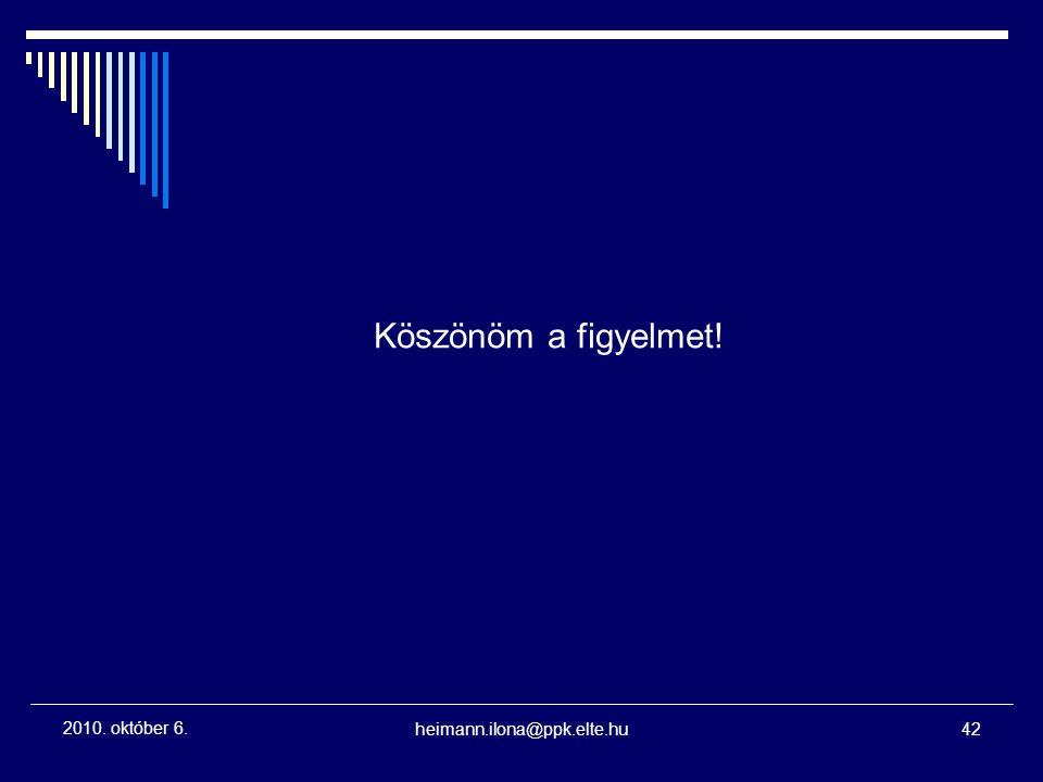 Köszönöm a figyelmet! 2010. október 6. heimann.ilona@ppk.elte.hu