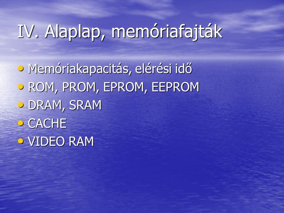 IV. Alaplap, memóriafajták