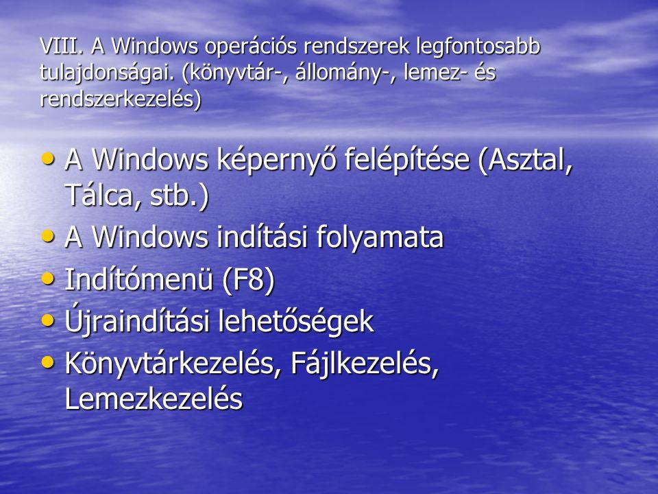 A Windows képernyő felépítése (Asztal, Tálca, stb.)