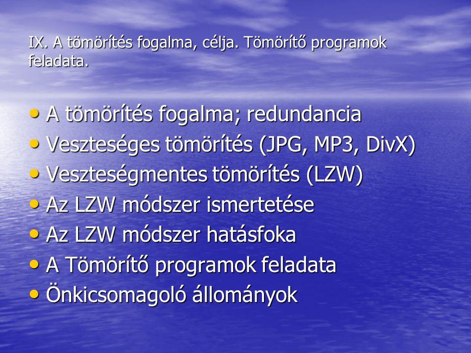 IX. A tömörítés fogalma, célja. Tömörítő programok feladata.