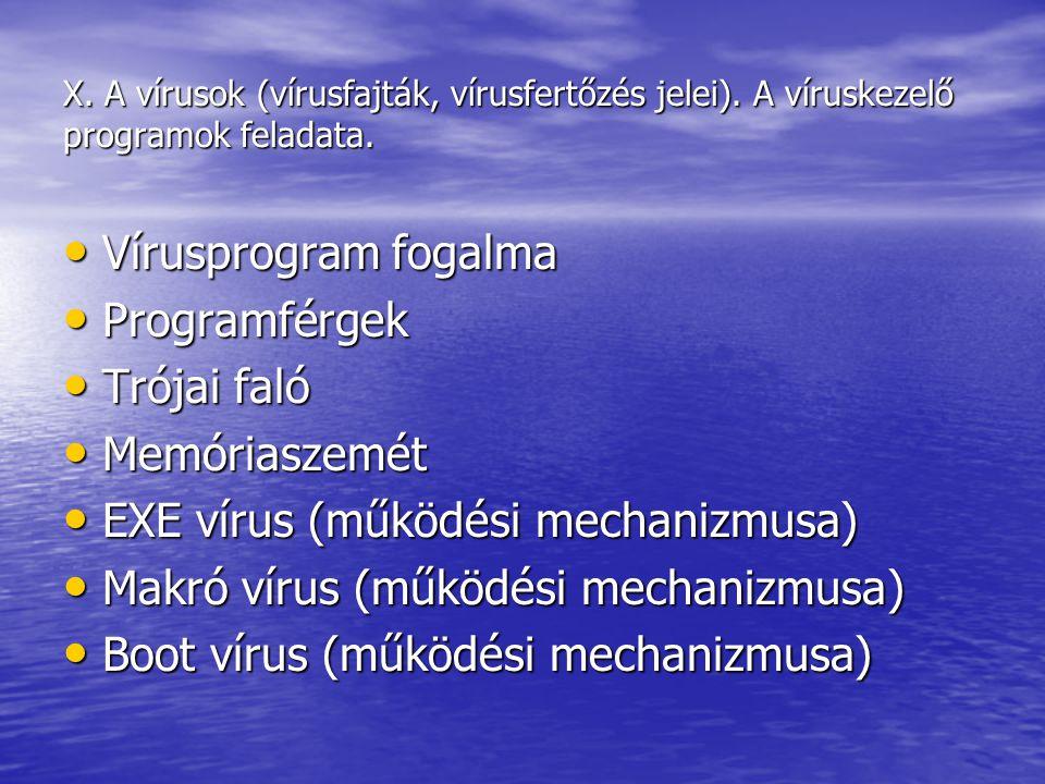 EXE vírus (működési mechanizmusa) Makró vírus (működési mechanizmusa)