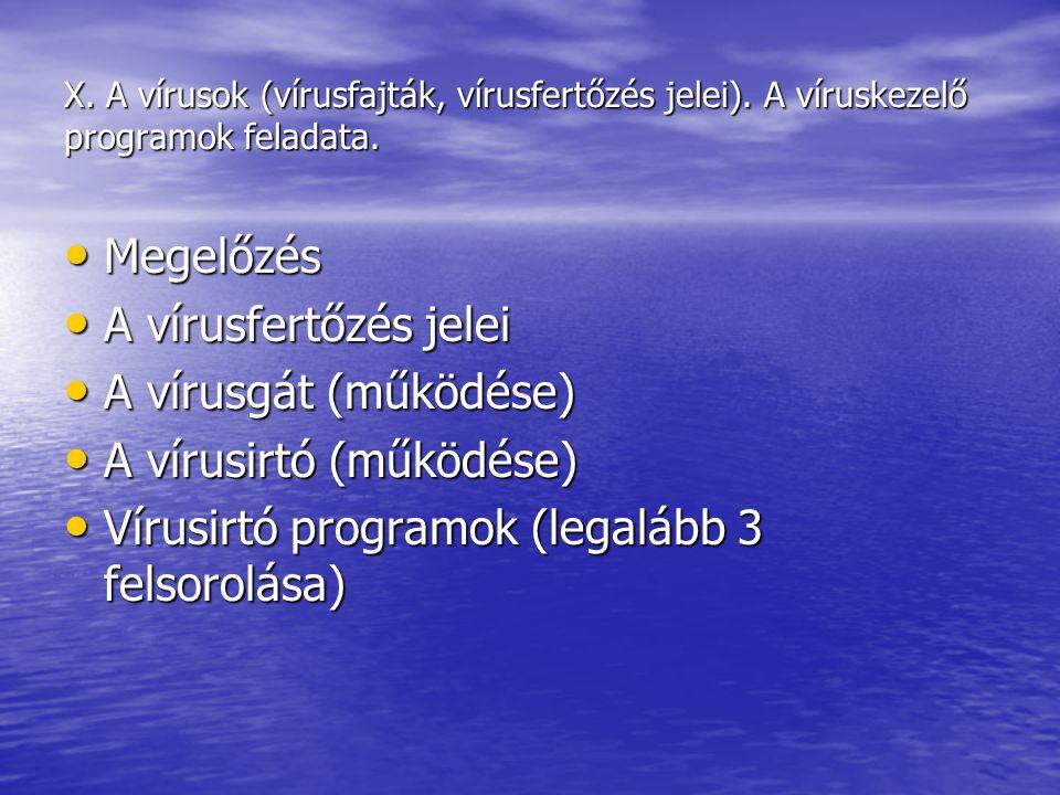 A vírusirtó (működése) Vírusirtó programok (legalább 3 felsorolása)