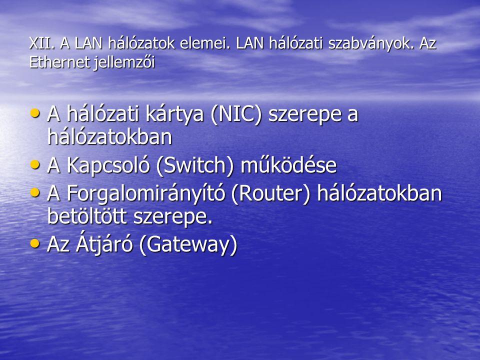 A hálózati kártya (NIC) szerepe a hálózatokban