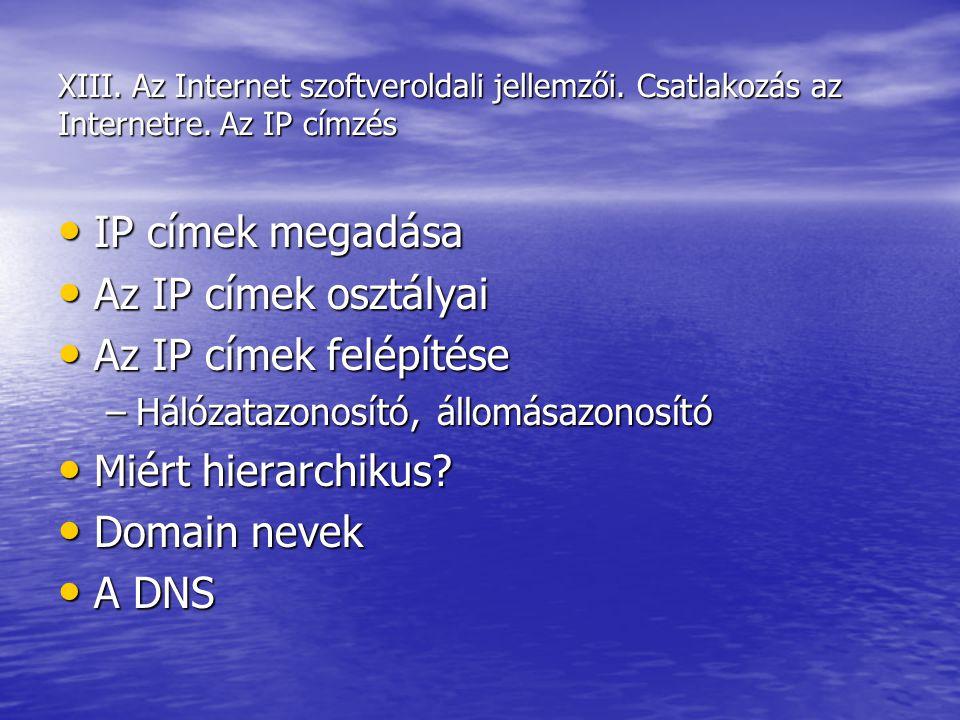 IP címek megadása Az IP címek osztályai Az IP címek felépítése