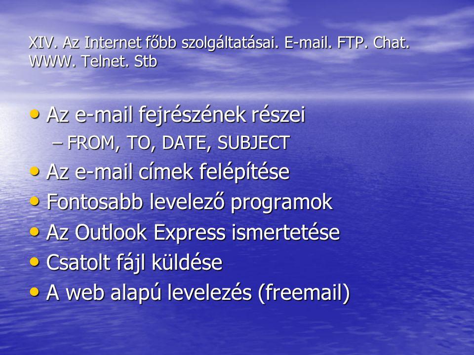 Az e-mail fejrészének részei Az e-mail címek felépítése