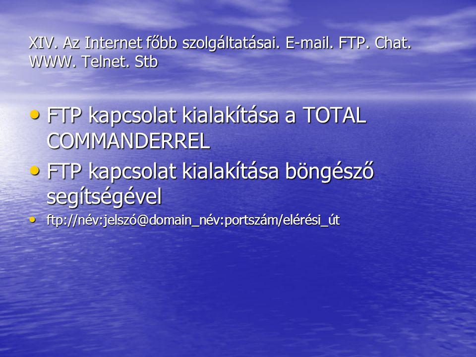 FTP kapcsolat kialakítása a TOTAL COMMANDERREL