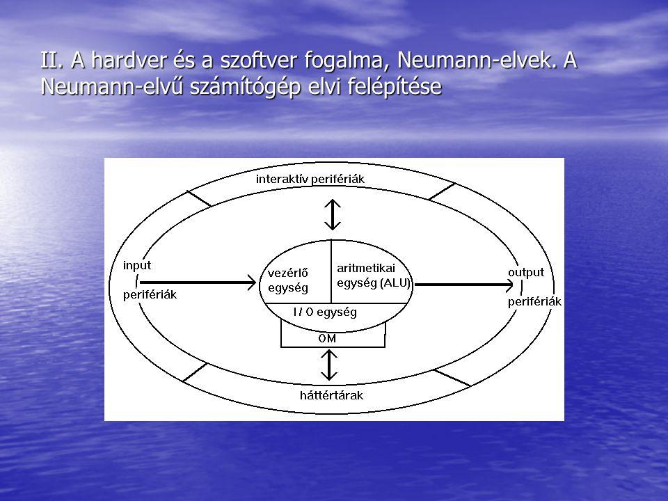 II. A hardver és a szoftver fogalma, Neumann-elvek