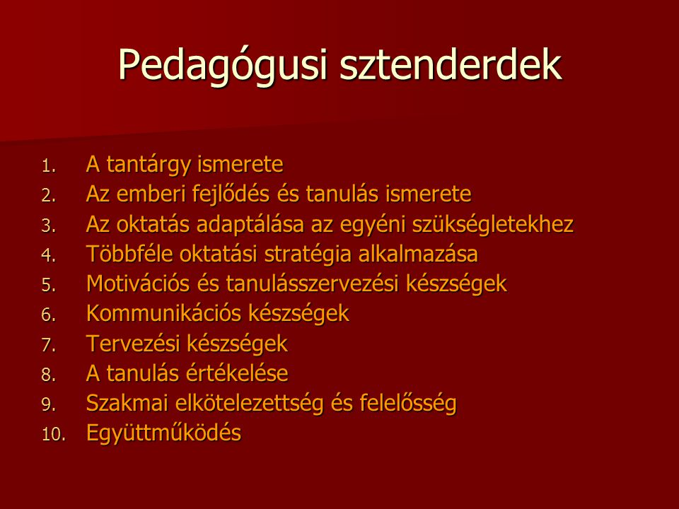 Pedagógusi sztenderdek