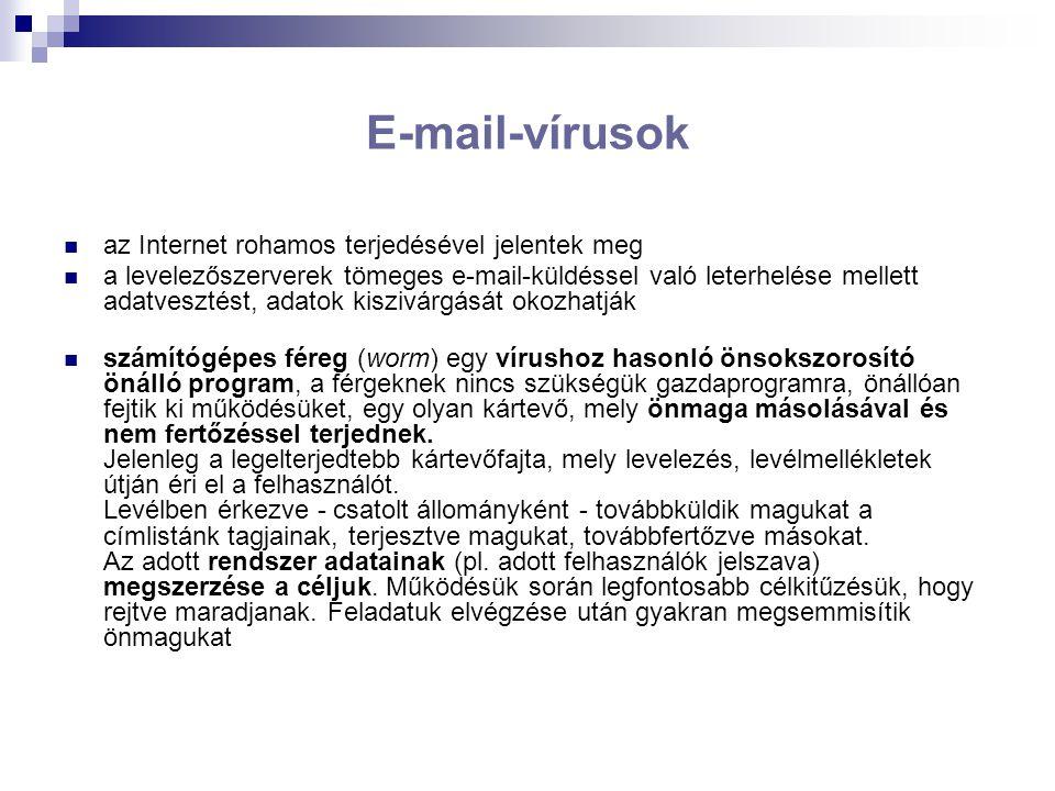 E-mail-vírusok az Internet rohamos terjedésével jelentek meg