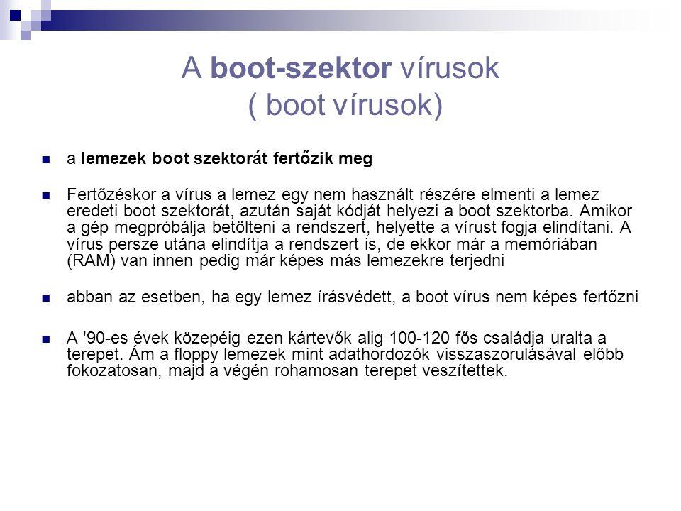 A boot-szektor vírusok ( boot vírusok)