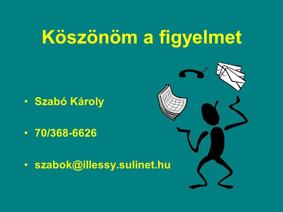 Köszönöm a figyelmet Szabó Károly 70/368-6626