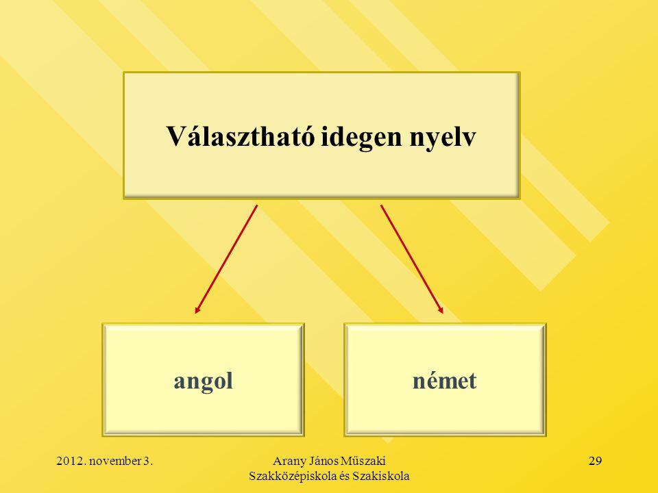 Választható idegen nyelv