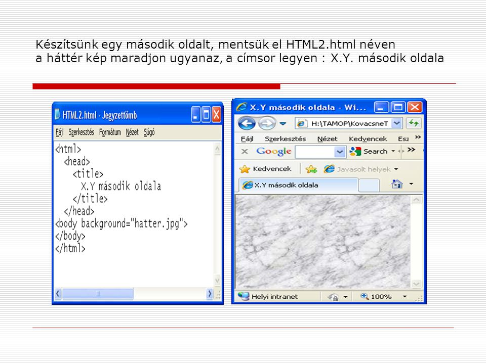 Készítsünk egy második oldalt, mentsük el HTML2