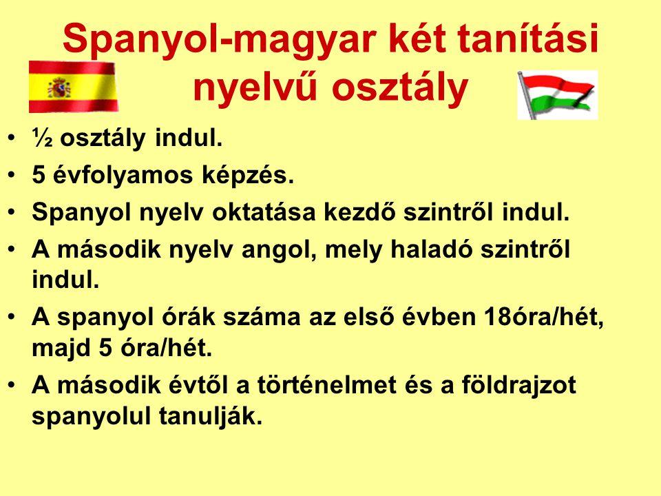 Spanyol-magyar két tanítási nyelvű osztály