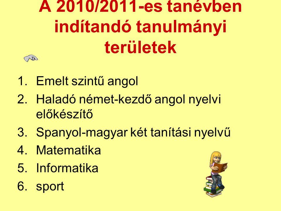 A 2010/2011-es tanévben indítandó tanulmányi területek