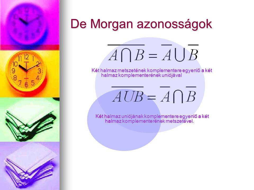 De Morgan azonosságok Két halmaz metszetének komplementere egyenlő a két halmaz komplementerének uniójával.