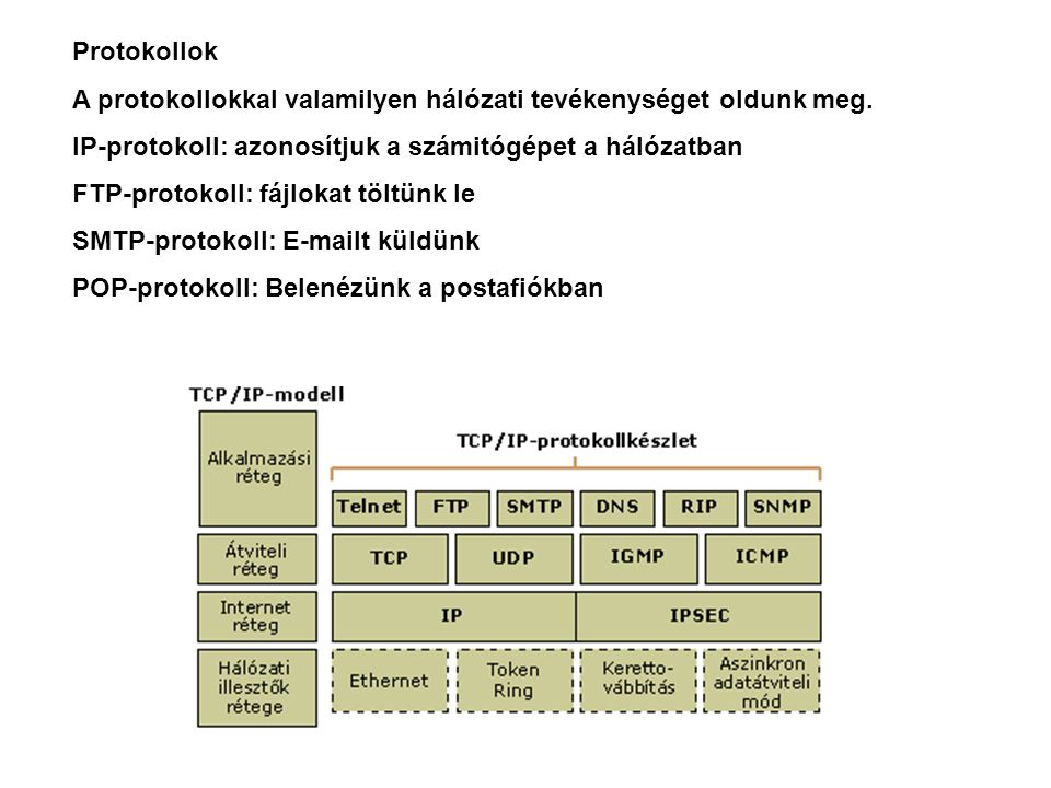 Protokollok A protokollokkal valamilyen hálózati tevékenységet oldunk meg. IP-protokoll: azonosítjuk a számitógépet a hálózatban.