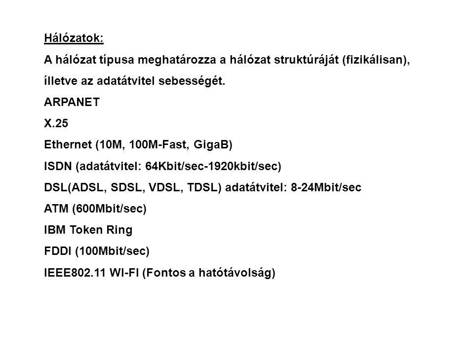 Hálózatok: A hálózat típusa meghatározza a hálózat struktúráját (fizikálisan), ílletve az adatátvitel sebességét.