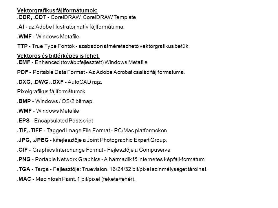 Vektorgrafikus fájlformátumok:. CDR,