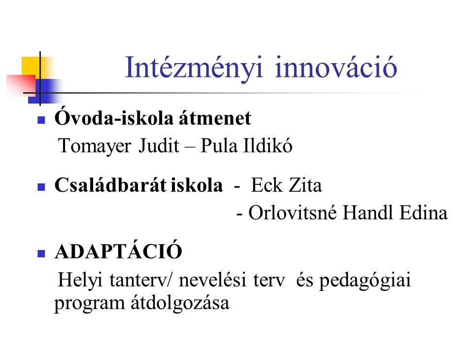 Intézményi innováció Óvoda-iskola átmenet Tomayer Judit – Pula Ildikó