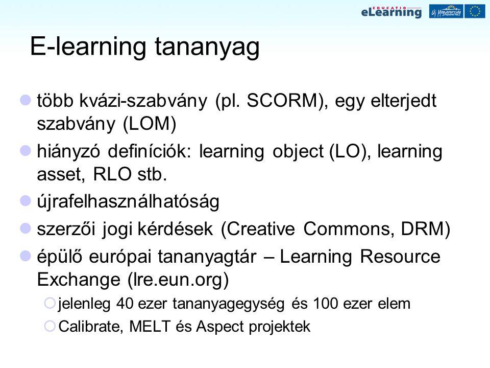 E-learning tananyag több kvázi-szabvány (pl. SCORM), egy elterjedt szabvány (LOM) hiányzó definíciók: learning object (LO), learning asset, RLO stb.