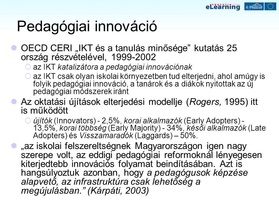 """Pedagógiai innováció OECD CERI """"IKT és a tanulás minősége kutatás 25 ország részvételével, 1999-2002."""