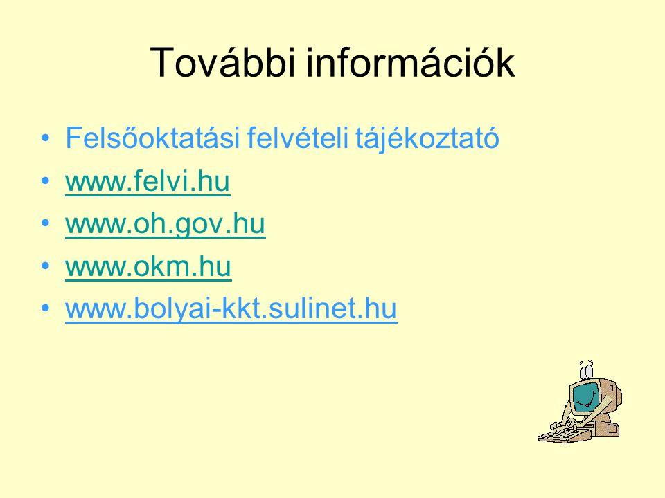 További információk Felsőoktatási felvételi tájékoztató www.felvi.hu