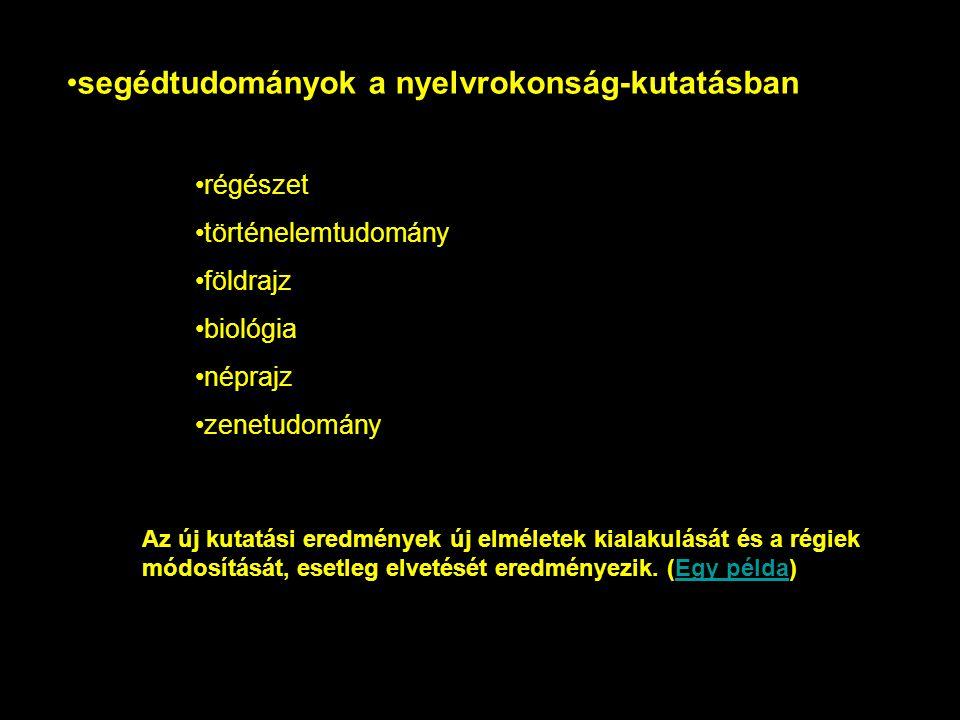 segédtudományok a nyelvrokonság-kutatásban