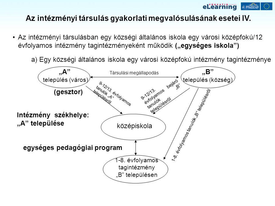 Az intézményi társulás gyakorlati megvalósulásának esetei IV.