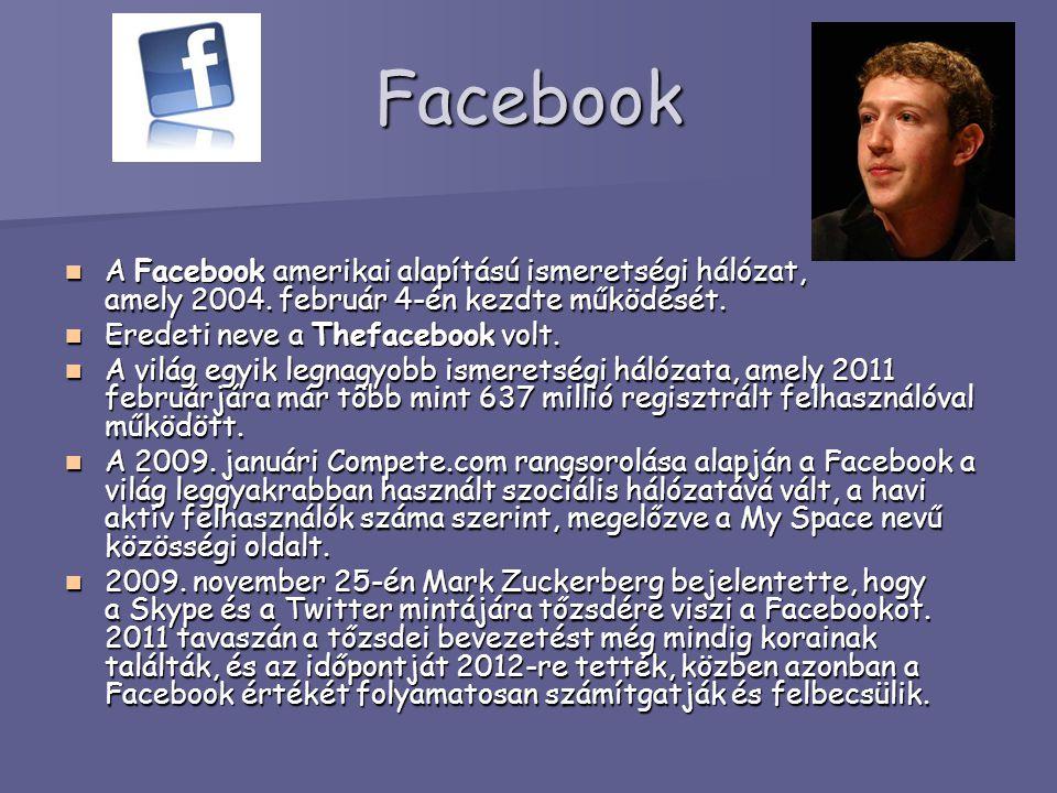 Facebook A Facebook amerikai alapítású ismeretségi hálózat, amely 2004. február 4-én kezdte működését.