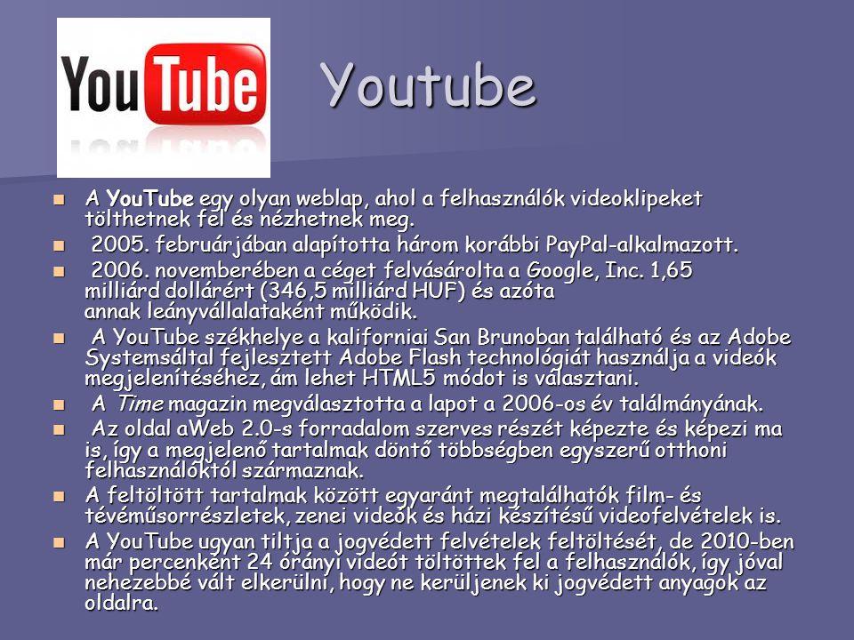 Youtube A YouTube egy olyan weblap, ahol a felhasználók videoklipeket tölthetnek fel és nézhetnek meg.