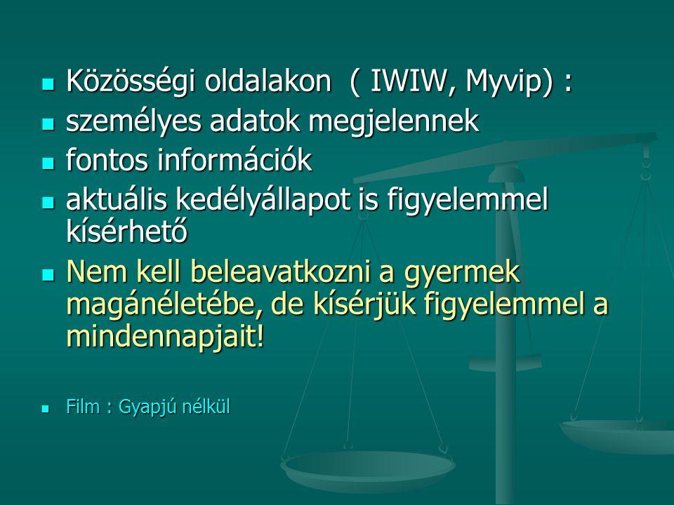 Közösségi oldalakon ( IWIW, Myvip) : személyes adatok megjelennek