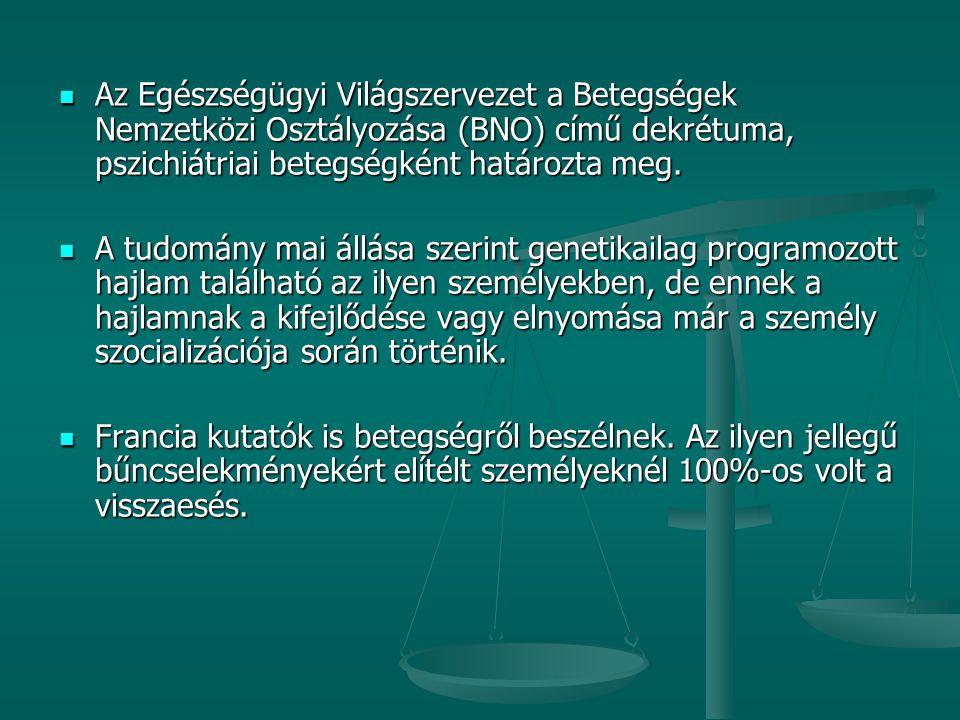 Az Egészségügyi Világszervezet a Betegségek Nemzetközi Osztályozása (BNO) című dekrétuma, pszichiátriai betegségként határozta meg.