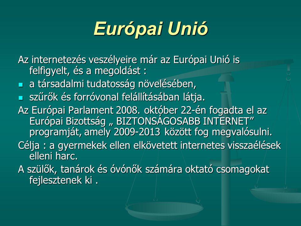 Európai Unió Az internetezés veszélyeire már az Európai Unió is felfigyelt, és a megoldást : a társadalmi tudatosság növelésében,