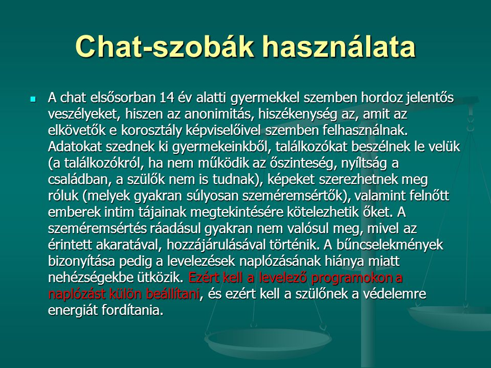 Chat-szobák használata