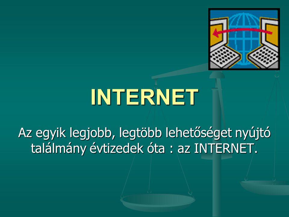 INTERNET Az egyik legjobb, legtöbb lehetőséget nyújtó találmány évtizedek óta : az INTERNET.