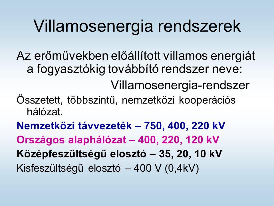 Villamosenergia rendszerek