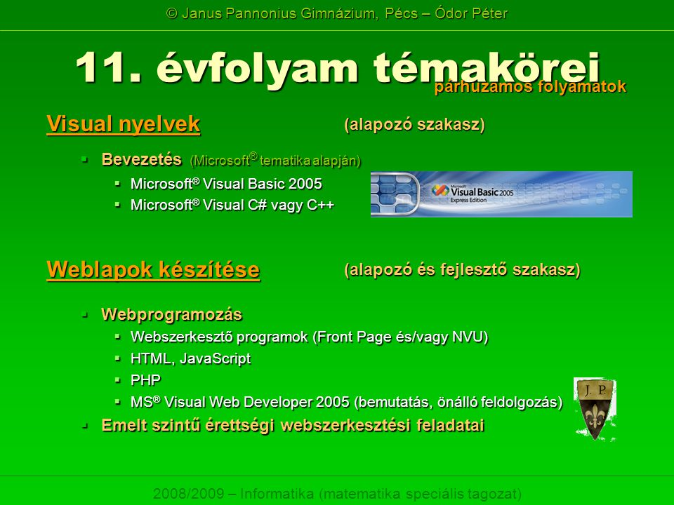 11. évfolyam témakörei Visual nyelvek Weblapok készítése