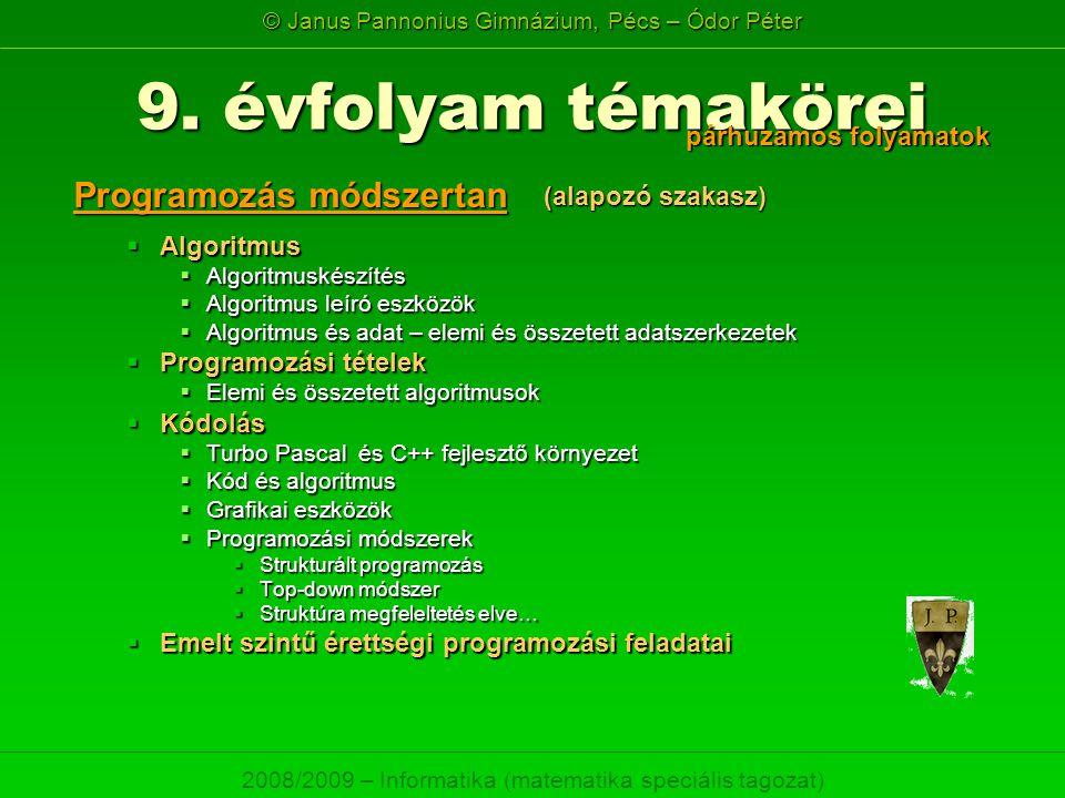 9. évfolyam témakörei Programozás módszertan párhuzamos folyamatok