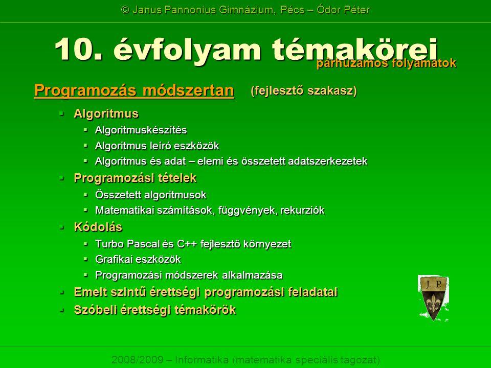 10. évfolyam témakörei Programozás módszertan párhuzamos folyamatok