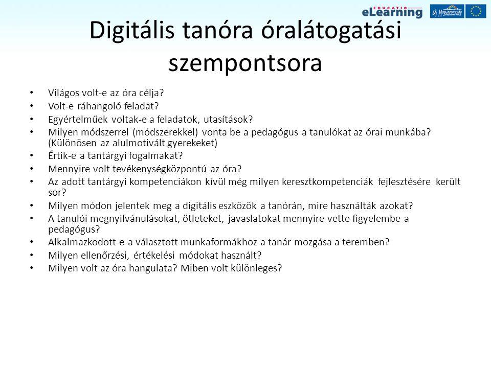 Digitális tanóra óralátogatási szempontsora