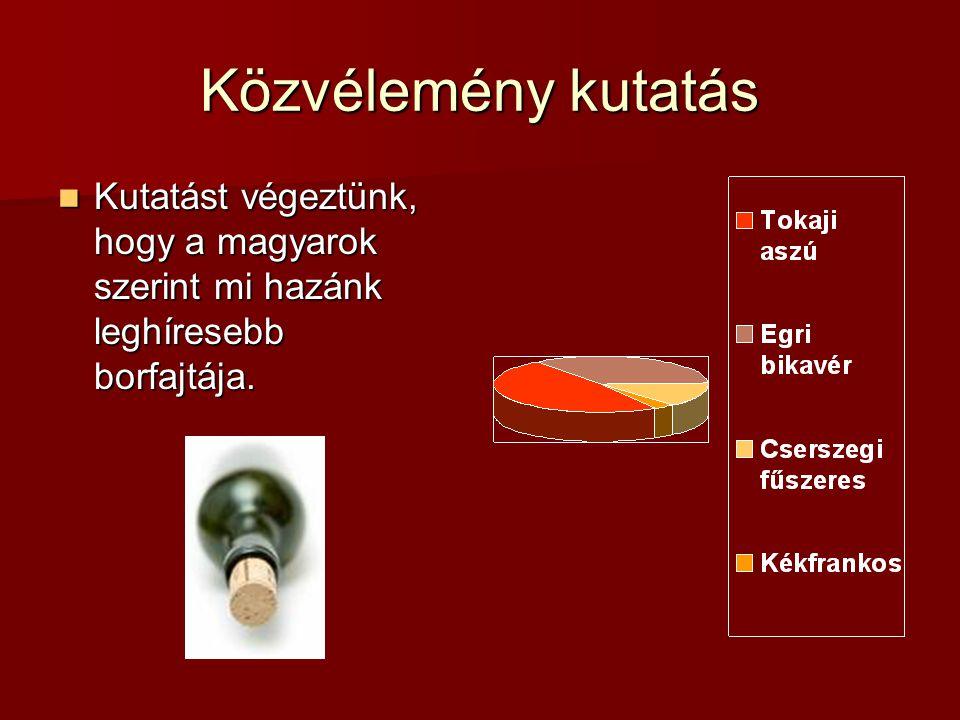 Közvélemény kutatás Kutatást végeztünk, hogy a magyarok szerint mi hazánk leghíresebb borfajtája.