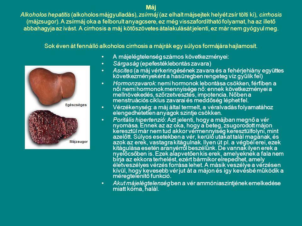 Máj Alkoholos hepatitis (alkoholos májgyulladás), zsírmáj (az elhalt májsejtek helyét zsír tölti ki), cirrhosis (májzsugor). A zsírmáj oka a felborult anyagcsere, ez még visszafordítható folyamat, ha az illető abbahagyja az ivást. A cirrhosis a máj kötőszövetes átalakulását jelenti, ez már nem gyógyul meg. Sok éven át fennálló alkoholos cirrhosis a májrák egy súlyos formájára hajlamosít.