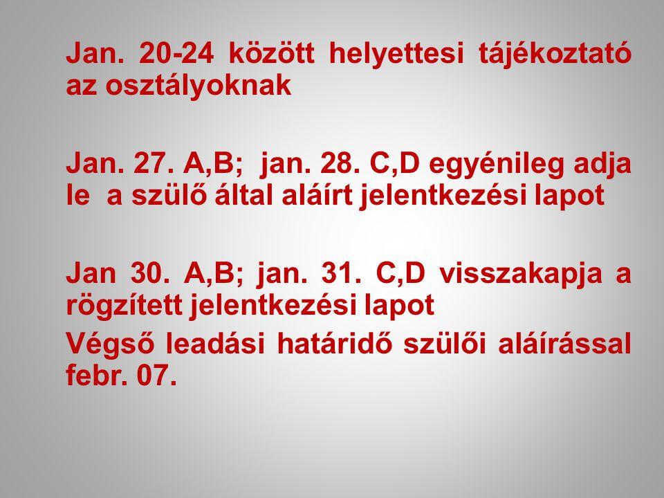 Jan. 20-24 között helyettesi tájékoztató az osztályoknak Jan. 27