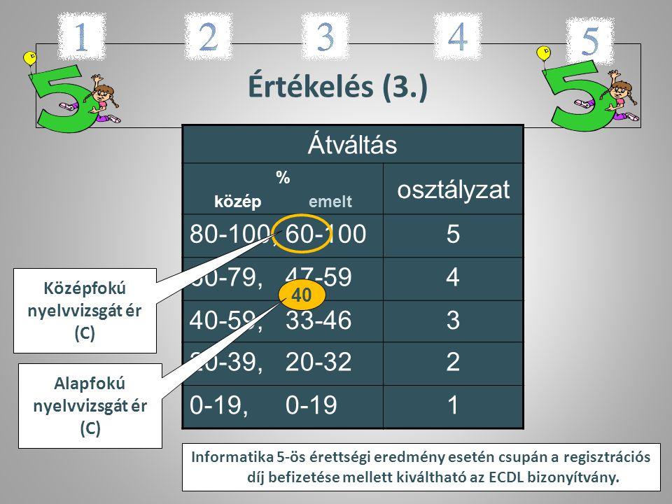 Középfokú nyelvvizsgát ér (C) Alapfokú nyelvvizsgát ér (C)