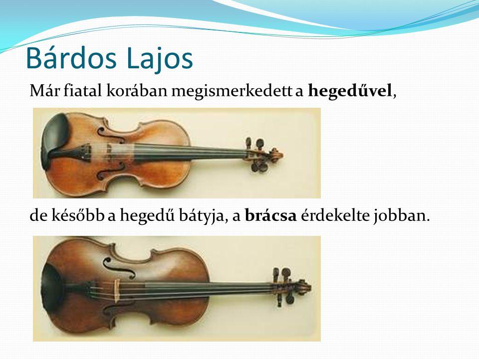 Bárdos Lajos Már fiatal korában megismerkedett a hegedűvel, de később a hegedű bátyja, a brácsa érdekelte jobban.
