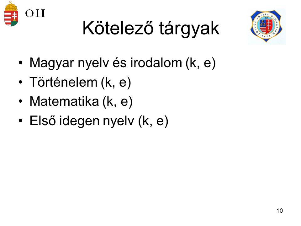 Kötelező tárgyak Magyar nyelv és irodalom (k, e) Történelem (k, e)
