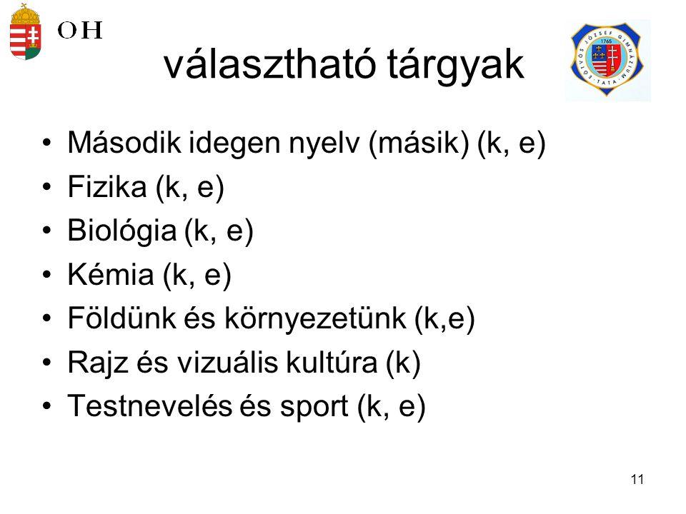 választható tárgyak Második idegen nyelv (másik) (k, e) Fizika (k, e)