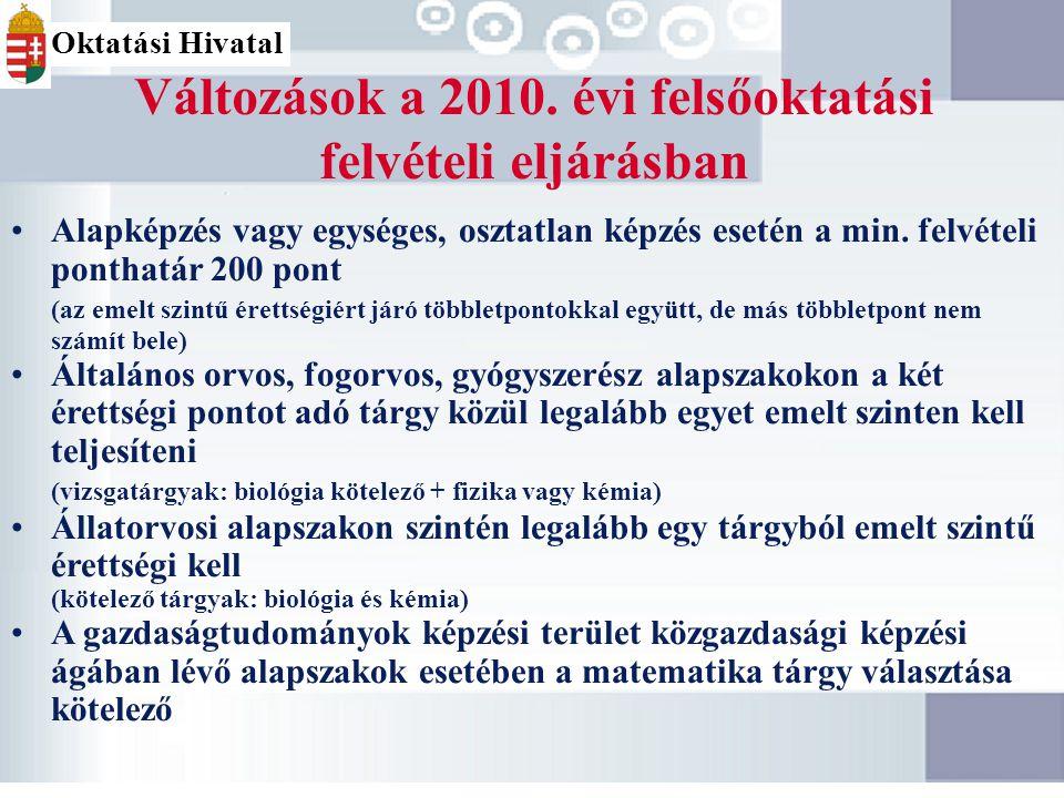 Változások a 2010. évi felsőoktatási felvételi eljárásban