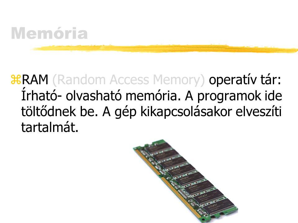 Memória RAM (Random Access Memory) operatív tár: Írható- olvasható memória.